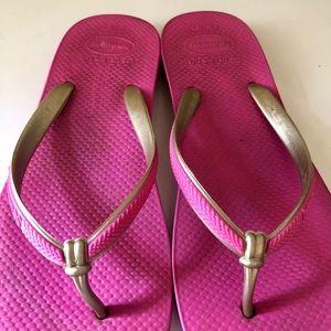 Havaianas slim pink gold sz 8/9 EUC